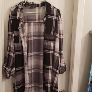 Black, gray, and white Plaid blouse